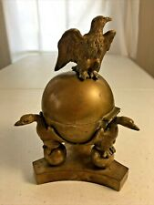 Antique Brass Inkwell with Eagles Holding Up the Globe