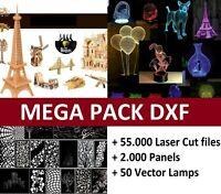 MEGA PACK 60.000 Laser Cut vector DXF CDR CNC 3D files Panels 3d illlusion lamps