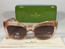 New Authentic Kate Spade Cat Eye Sunglasses Clear Pink Crystal Flamingo Crimson