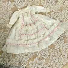 VINTAGE ANTEBELLUM WHITE LACE DOLL DRESS PINK RIBBON TRIM