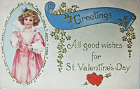 Greetings All Good Wishes For St. Valentine's Day Postcard c1901 Embossed