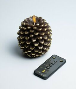 Luminara Pine Cone Figural Wax Flameless Candle + REMOTE - Brown & Gold - NEW