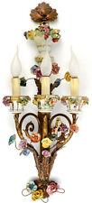 Gorgeous Xl Italian porcelain flower Wall light 3 arms 1970's metal sconce