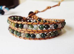 Sale Agate bracelets,Green bracelets,Leather bracelets,Women bracelets,2 Wrap