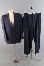 Vtg Mens 1950s Clothcraft Rayon Navy Blue Suit Jacket M Pants 31x32 Long 50s