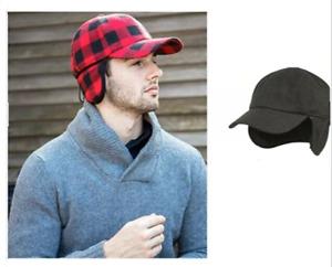 Epoch Men's wool blend earflap cap with Sherpa lining Adjustable String
