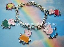 PEPPA PIG FAMILY THEMED CHARMS BRACELET SILVER MUMMY DADDY GEORGE IN GIFT BAG