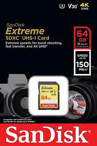 SanDisk 64GB Extreme SDXC 150MB/S U3 V30 4K SD Class 10 Memory Card SDSDXV6-064G