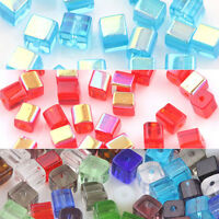 Lots 50/100Pcs Mixed Crystal Cube Square Loose Spacer Beads DIY Jewelry Making