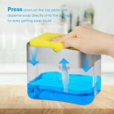 2in1 Soap Pump Dispenser & Sponge Holder Dish Soap Storage Dispensers Kitchen Us
