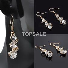 18K Gold Plated Rhinestone Crystal Dangle Drop Ear Hook New Earrings