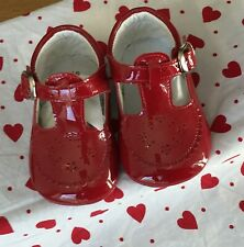SALE Spanish baby girl red leather patent soft pram shoe size EU16 (4-6 mths)