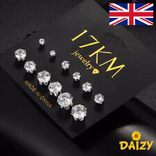 CRYSTAL STUD EARRINGS SILVER STUD EARRINGS CRYSTAL 6 PAIRS SET SMALL STUD NEW