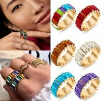 Crystal Rhinestone Cubic Colorful Knuckle Rings Rainbow Charm Stackable Diamond