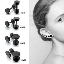 4 Pairs Black Mens Women Barbell Punk Gothic Stainless Steel Ear Studs Earrings