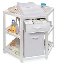 Badger Basket Diaper Corner Changing Table w/Hamper & Basket - White 22009 New