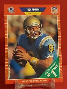 MINT 1989 Pro Set Troy Aikman ROOKIE CARD RC #490 Dallas Cowboys