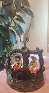 Vintage Beautiful Oriental Asian Figural Ceramic Tree Lamp NO Shade