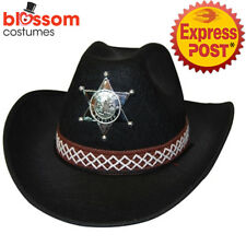 512325ca2f0 As248 Black Feltex Costume Cowboy Cowgirl Adult Hat With Badge Western Wild  West