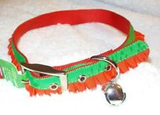 """Top Paw PET HOLIDAY Buckle Collar Red and Green Ruffle Large 18""""-24"""" Neck Size"""