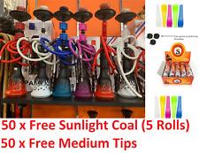 "Modern Flame Design 22"" Two (2) Hose Hookah Set w/ 50 tips & 50 Instant charcoal"
