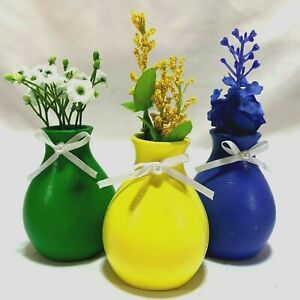Mini Flower Vase Tier Tray Set of 3 Green Yellow and Blue