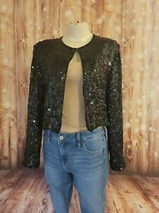 BILA Silk Black Beaded Sequins Evening Formal Cardigan Jacket Bolero M