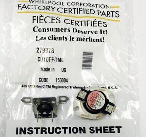 279973 Genuine OEM Whirlpool Dryer Thermostat Thermal Fuse Kit CUTOFF-TML