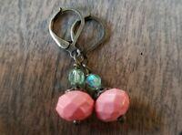 Coral beaded earrings Czech Glass Bronze Leverback Vintage Style Handmade