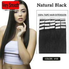Full Head 100% Tape in Human Hair Extension 16-24 inch 30g-70g Natural Black