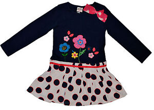 Girls Navy Blue Polka Dots Long Sleeve Dress with Embroidered Flowers