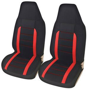 High Back Bucket Car Truck SUV Front Seat Cover Breathable Polyester Fabric 2Pcs