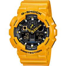 Casio G-Shock Sport Watch GA-100A Yellow Digital/Analog World Time Backlight