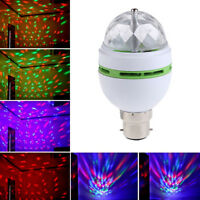 B22 3W RGB LED Rotating Color Changing Light Bulb Party Club Disco Stage Lamp
