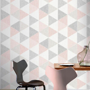 Arthouse Scandi Triangle Shape Geometric Blush Pink Grey White Wallpaper 908204
