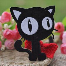 Embroidery Cloth Iron on Patch Sew Motif Applique Black White Cats 2pcs O 2pcs Balck