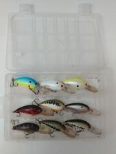 (9) Bomber Model A 6A Fishing Lure Crankbaits Lot of 9 with Tackle Box Included