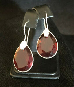 "Silver Garnet Earrings Sterling Silver Platd 20 Carats Red Glass India 1.6"" 1312"