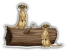 Meerkats Log Car Bumper Sticker Decal 5'' x 4''