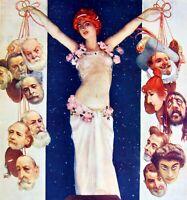 Colgador Cubierta Comoedia Dibujada N º 1 1908 Cartel Policromada Teatro