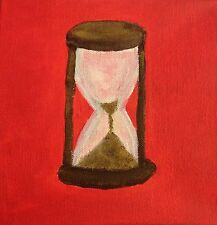 Original Acrylic Canvas Painting Time Is Running Out Hourglass Timer Red Field