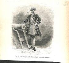 Portrait du Marquis Louis-Joseph de Montcalm à Québec Canada GRAVURE 1888