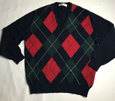 Cashmere Argyle Sweater Mens Size 44 Scotland Navy Blue Green Red Flaws V-Neck