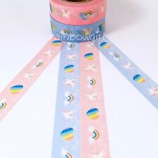 Set of 2 Rainbow Unicorn Heart 15mm Washi Tape for Planners Stationary