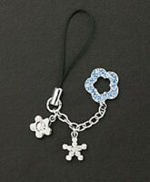 Cell Phone Charm Strap Blue Silver Dangle Crystal Flower Mothers Day Gifts