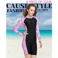 Women Black Short Sleeve Scuba Snorkeling Surfing Wetsuits Diving Swimming Suits