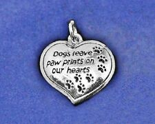 Dog Memorial Charm Pendant Sterling Silver Pl Dogs Leave Paw Prints on our Heart
