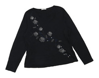 Marks & Spencer Womens Size 16 Floral Cotton Black Long Sleeve T-Shirt (Regular)