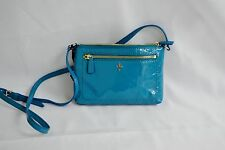 Cole Hahn Purse All Mini Crossbody Caribbean Blue Patent Hand bag Leather Jitney
