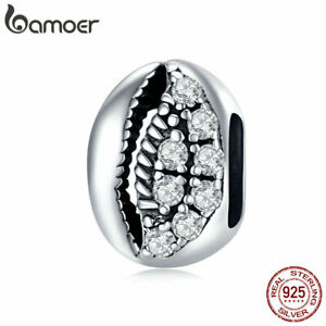 BAMOER Eurpean Retro Shiny shell S925 Sterling silver Space Charms Fit Bracelets